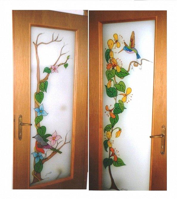 Pittura su vetro porte interne - Decorazioni su porte interne ...