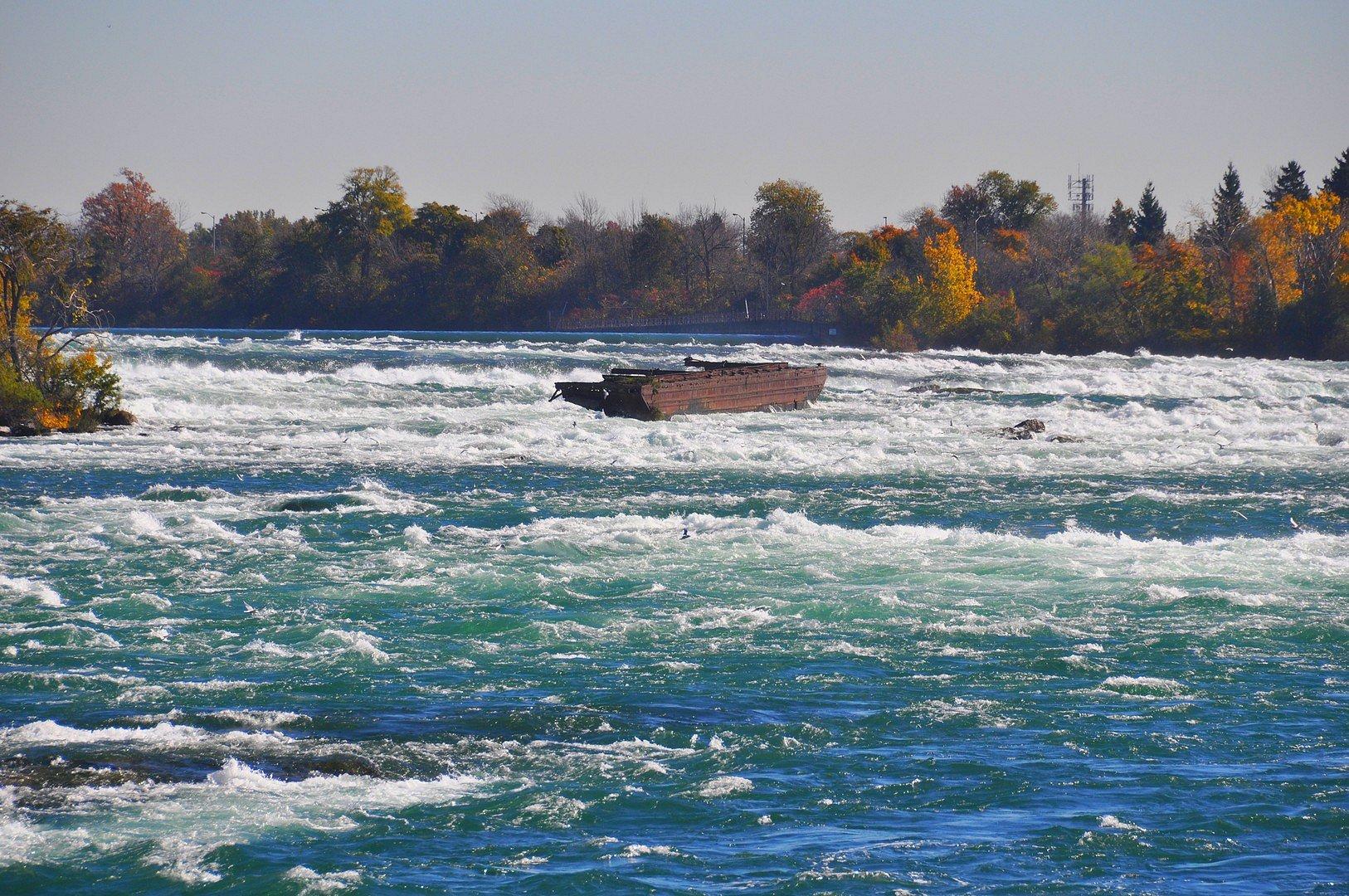 Boat Stuck at the top of Niagara Falls